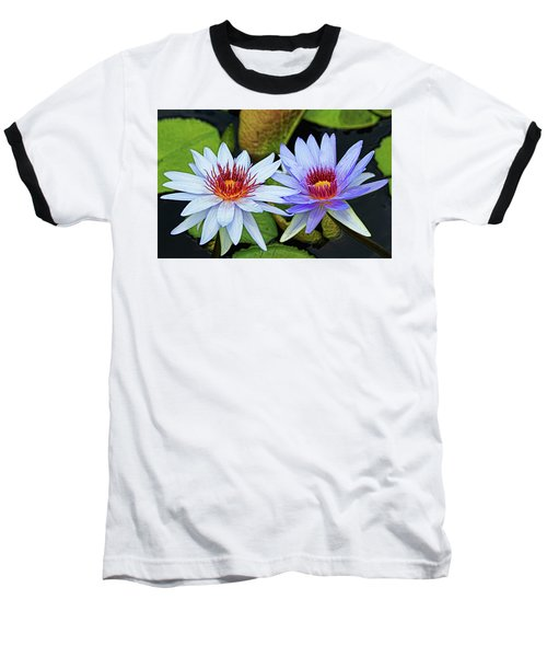 Baseball T-Shirt featuring the photograph Blue Water Lilies by Judy Vincent