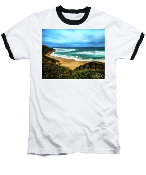Baseball T-Shirt featuring the photograph Blue Wave Beach by Perry Webster