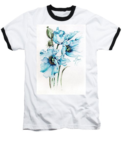 Baseball T-Shirt featuring the painting Blue Wind by Anna Ewa Miarczynska