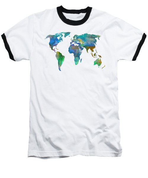 Blue World Transparent Map Baseball T-Shirt