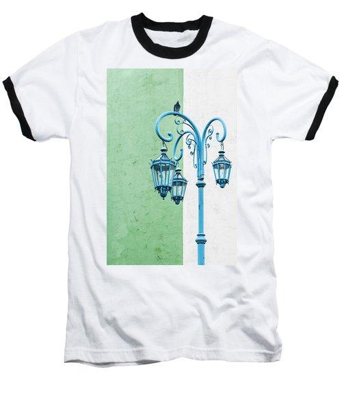 Blue,green And White Baseball T-Shirt