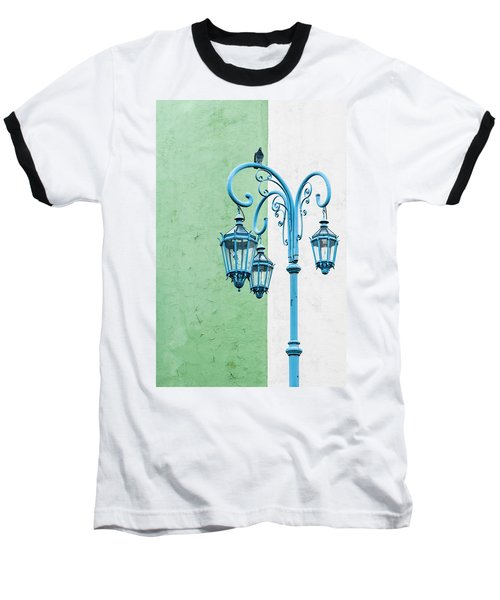 Blue,green And White Baseball T-Shirt
