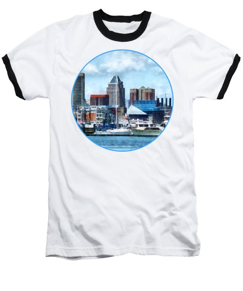 Boat - Baltimore Skyline And Harbor Baseball T-Shirt