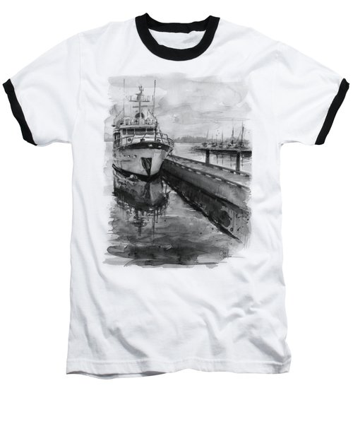Boat On Waterfront Marina Kirkland Washington Baseball T-Shirt