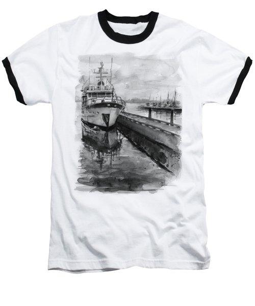Boat On Waterfront Marina Kirkland Washington Baseball T-Shirt