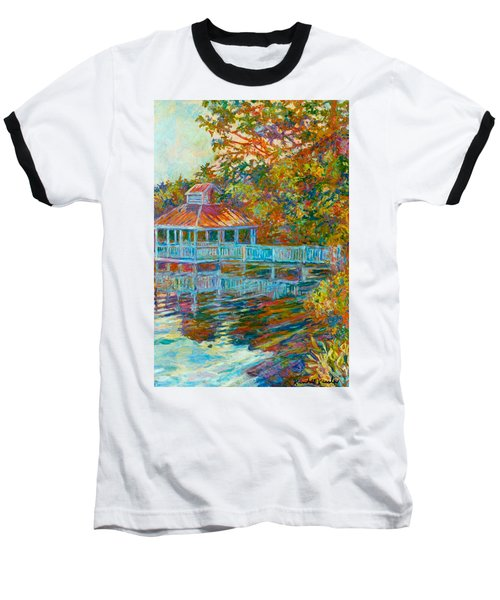Boathouse At Mountain Lake Baseball T-Shirt by Kendall Kessler