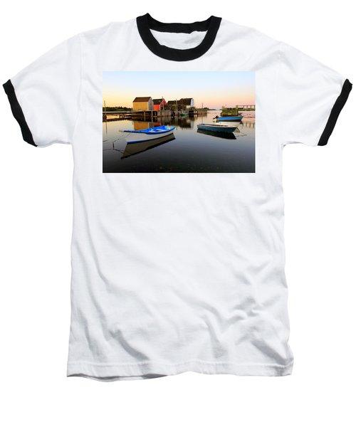 Boats And Fish Shacks At Blue Rocks, Nova Scotia Baseball T-Shirt