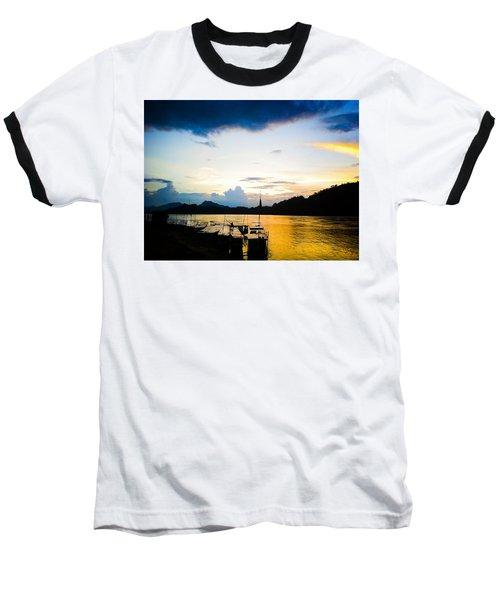 Boats In The Mekong River, Luang Prabang At Sunset Baseball T-Shirt
