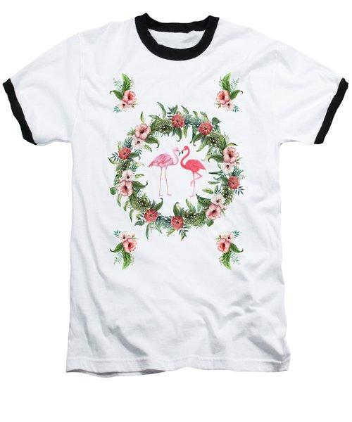 Boho Floral Tropical Wreath Flamingo Baseball T-Shirt