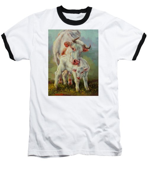 Baseball T-Shirt featuring the painting Bonded Cow And Calf by Margaret Stockdale