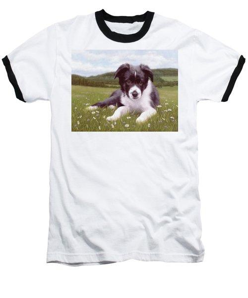 Border Collie Puppy Painting Baseball T-Shirt by Rachel Stribbling