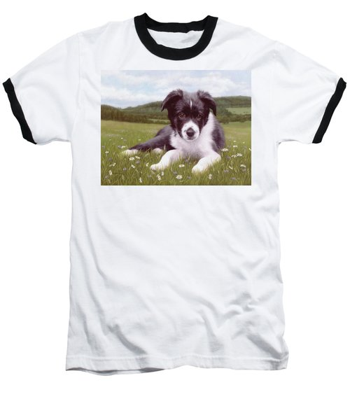 Border Collie Puppy Painting Baseball T-Shirt