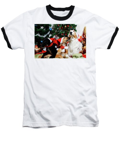 Borzoi Hounds Dressed As Father Christmas Baseball T-Shirt
