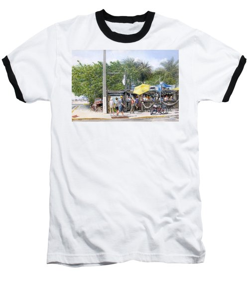 Baseball T-Shirt featuring the painting Bos Fish Wagon by Bob George