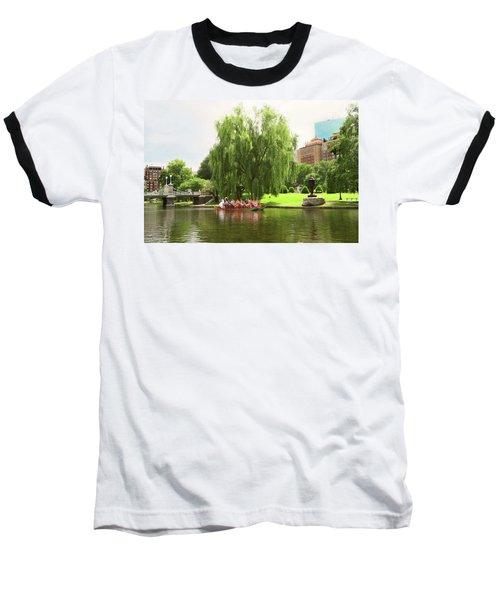 Boston Garden Swan Boat Baseball T-Shirt