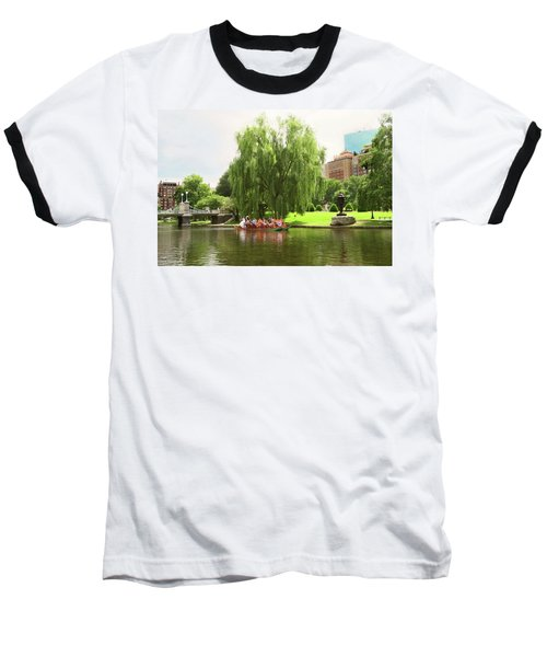 Boston Garden Swan Boat Baseball T-Shirt