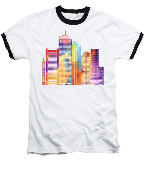 Boston Landmarks Watercolor Poster Baseball T-Shirt