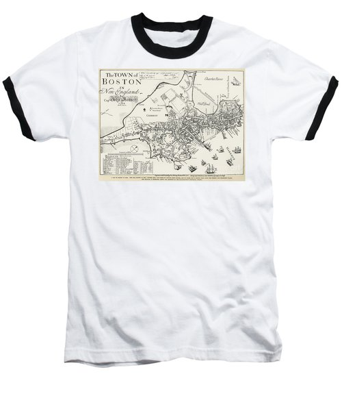 Boston Map, 1722 Baseball T-Shirt