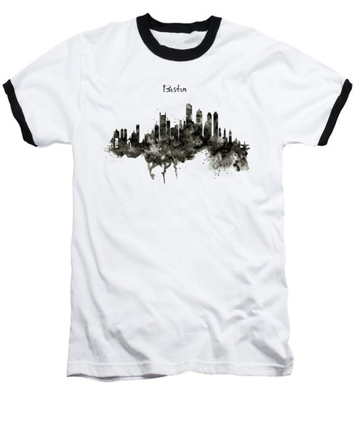 Boston Skyline Black And White Baseball T-Shirt by Marian Voicu