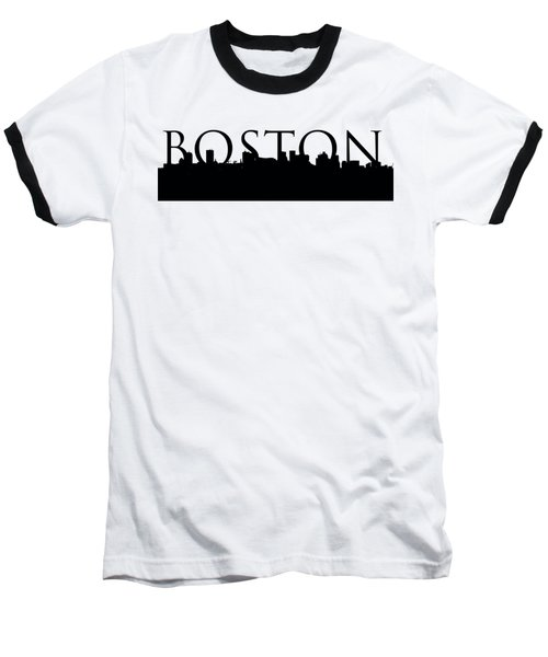 Boston Skyline Outline With Logo Baseball T-Shirt