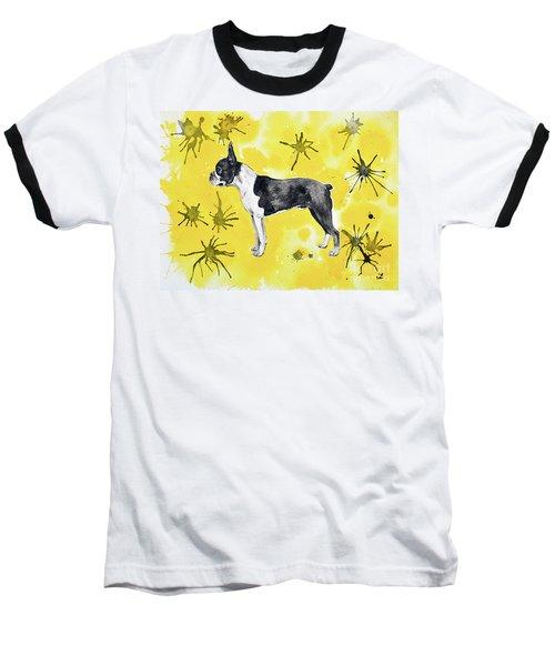Baseball T-Shirt featuring the painting Boston Terrier On Yellow by Zaira Dzhaubaeva