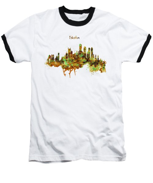 Boston Watercolor Skyline Baseball T-Shirt by Marian Voicu