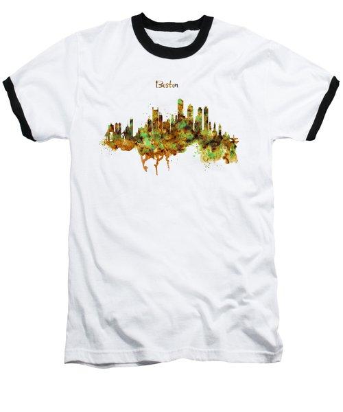 Boston Watercolor Skyline Baseball T-Shirt