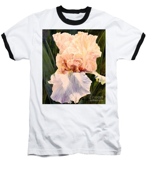 Baseball T-Shirt featuring the painting  Botanical Peach Iris by Laurie Rohner