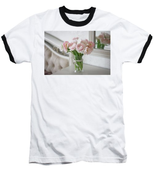 Bouquet Of Delicate Ranunculus And Tulips In Interior Baseball T-Shirt