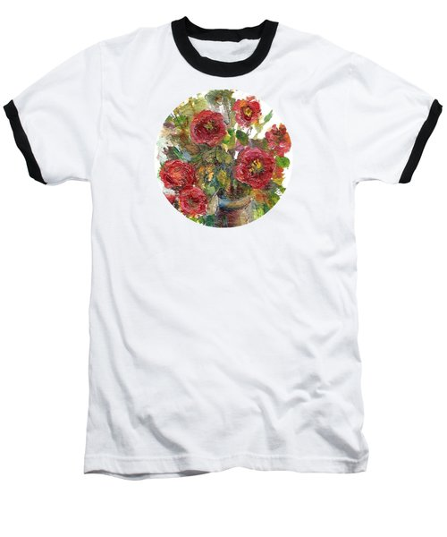 Baseball T-Shirt featuring the painting Bouquet Of Poppies by Mary Wolf