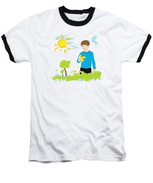 Boy Painting Summer Scene Baseball T-Shirt by Serena King