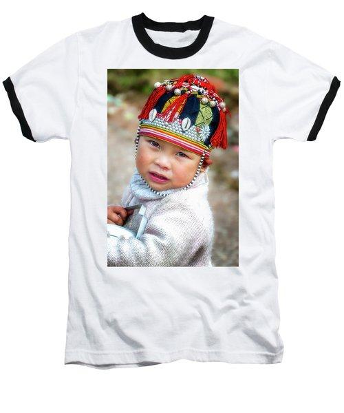 Boy With A Red Cap. Baseball T-Shirt