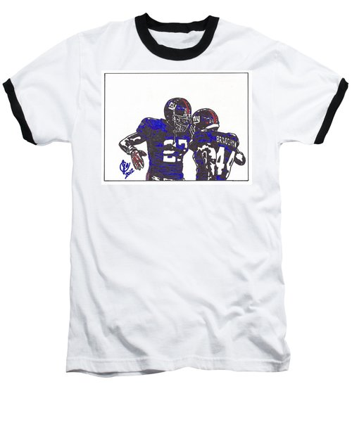 Baseball T-Shirt featuring the drawing Brandon Jacobs And Ahmad Bradshaw by Jeremiah Colley
