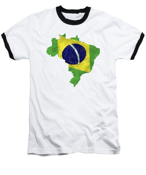 Brazil Map Art With Flag Design Baseball T-Shirt