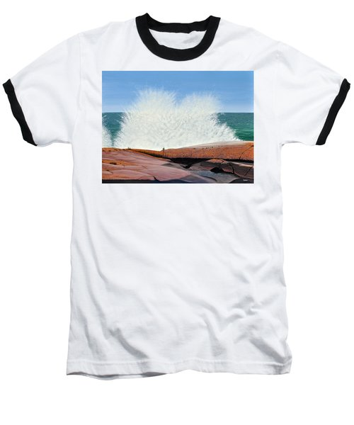 Baseball T-Shirt featuring the painting Breakers On Georgian Bay by Kenneth M  Kirsch
