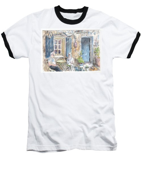 Baseball T-Shirt featuring the painting Breakfast Al Fresco by Tilly Strauss