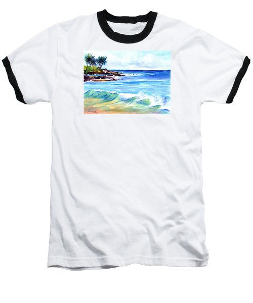Baseball T-Shirt featuring the painting Brennecke's Beach by Marionette Taboniar