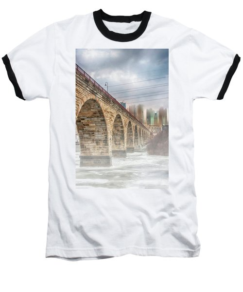 Bridge Over Frozen Water Baseball T-Shirt