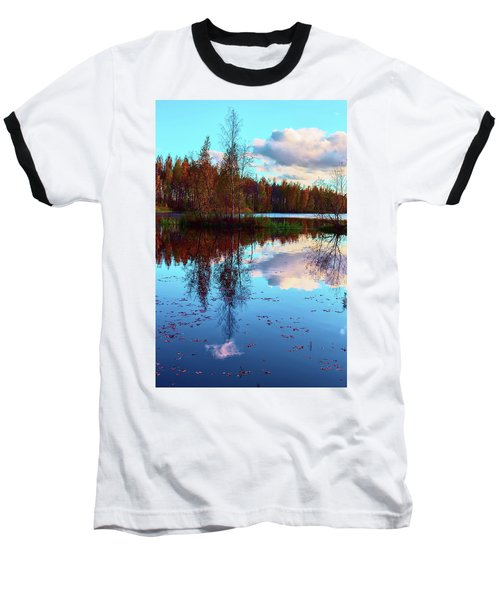 Bright Colors Of Autumn Reflected In The Still Waters Of A Beautiful Forest Lake Baseball T-Shirt