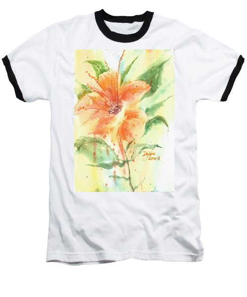 Bright Orange Flower Baseball T-Shirt