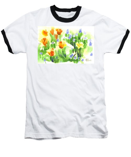 Baseball T-Shirt featuring the painting Brightly April Flowers by Kip DeVore
