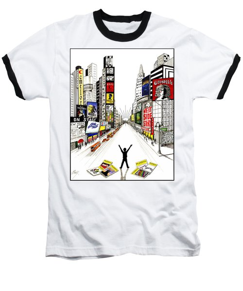 Baseball T-Shirt featuring the drawing Broadway Dreamin' by Marilyn Smith