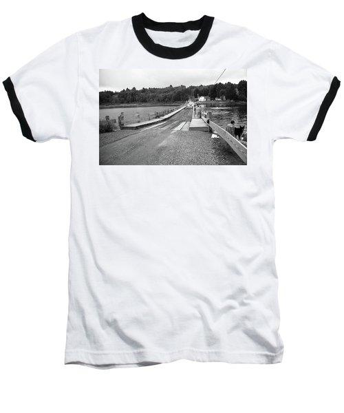 Baseball T-Shirt featuring the photograph Brookfield, Vt - Floating Bridge 5 Bw by Frank Romeo