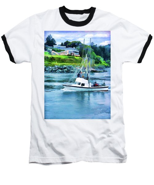 Brookings Boat Oil Painting Baseball T-Shirt by Wendy McKennon