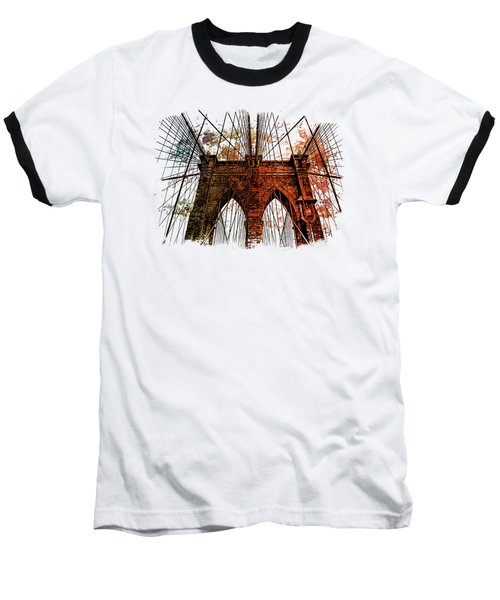 Brooklyn Bridge Art 1 Baseball T-Shirt by Di Designs