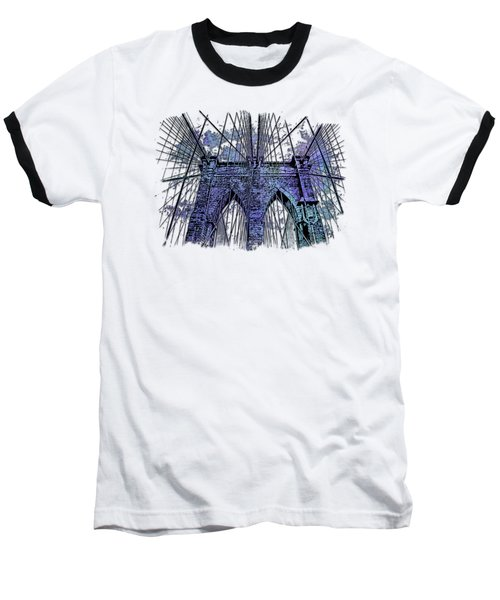 Brooklyn Bridge Berry Blues 3 Dimensional Baseball T-Shirt by Di Designs