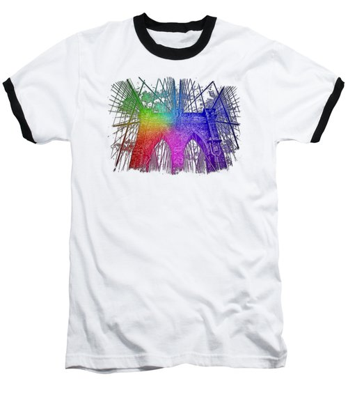 Brooklyn Bridge Cool Rainbow 3 Dimensional Baseball T-Shirt