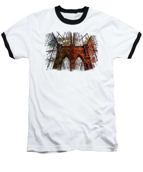 Brooklyn Bridge Earthy Rainbow 3 Dimensional Baseball T-Shirt by Di Designs