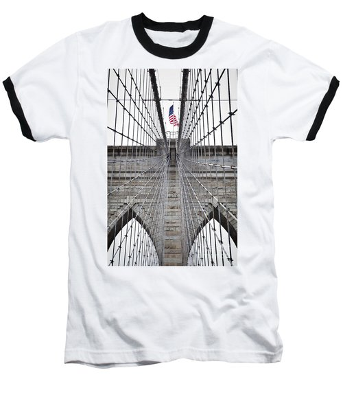 Brooklyn Bridge Flag Baseball T-Shirt