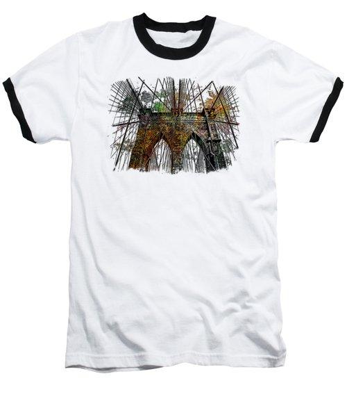 Brooklyn Bridge Muted Rainbow 3 Dimensional Baseball T-Shirt by Di Designs